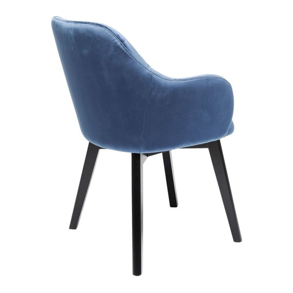 Sametově modrá židle s nohami z bukového dřeva Kare Design