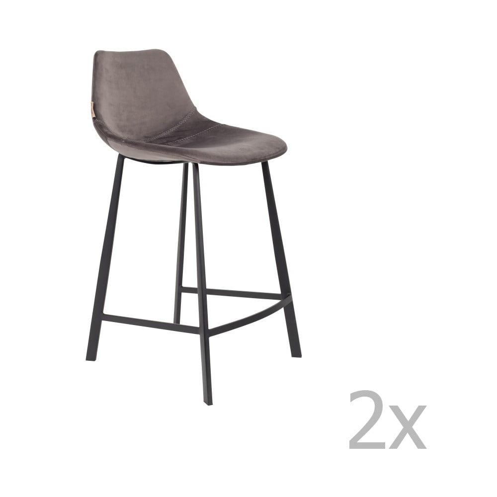 Sada 2 šedých barových židlí se sametovým potahem Dutchbone, výška 91 cm