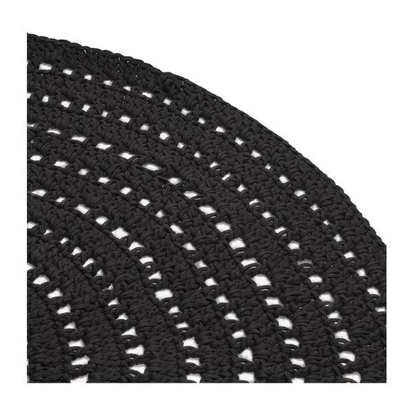 Černý kruhový bavlněný koberec LABEL51 Knitted, ⌀150cm
