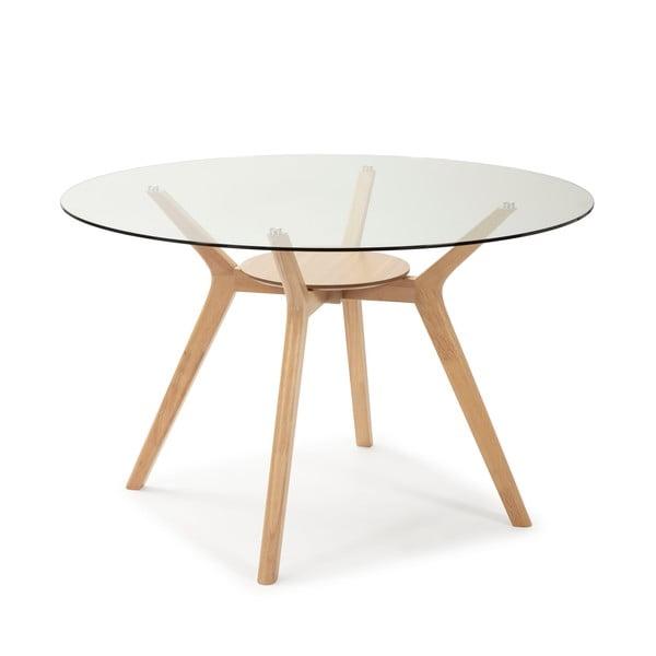 Jídelní stůl se skleněnou deskou a dřevěnými nohami Marckeric Joel