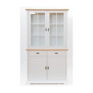 Vitrină cu 2 uși și 2 sertare Wermo Family Mari, alb-natural