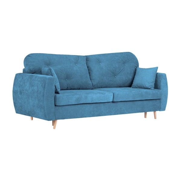 Modrá třímístná rozkládací pohovka s úložným prostorem Kooko Home Viola