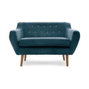 Canapea cu 2 locuri Vivonita Kelly, picioare culoare naturală, bleumarin