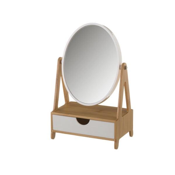 Lustro na bambusowym stojaku z szufladką Unimasa Coco