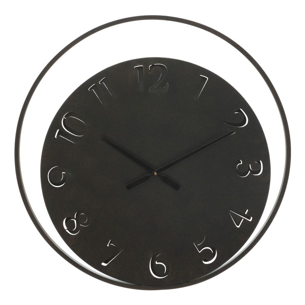 Černé nástěnné hodiny Mauro Ferretti Circle, ⌀ 60 cm