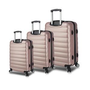 Sada 3 růžových cestovních kufrů na kolečkách s USB porty My Valice RESSO Travel Set