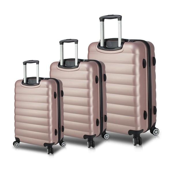 Zestaw 3 różowych walizek na kółkach z USB My Valice RESSO Travel Set