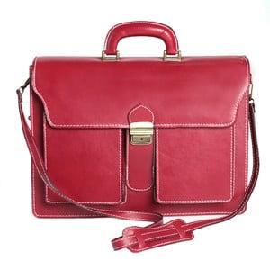 Červená kožena taška Chicca Borse Messenger Red