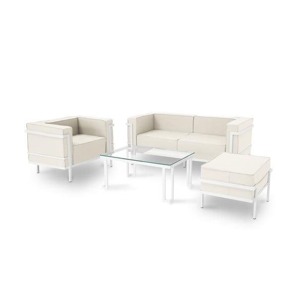 Set záhradného nábytku pre 4 osoby v béžovej farbe a bielom ráme Calme Jardin Cannes