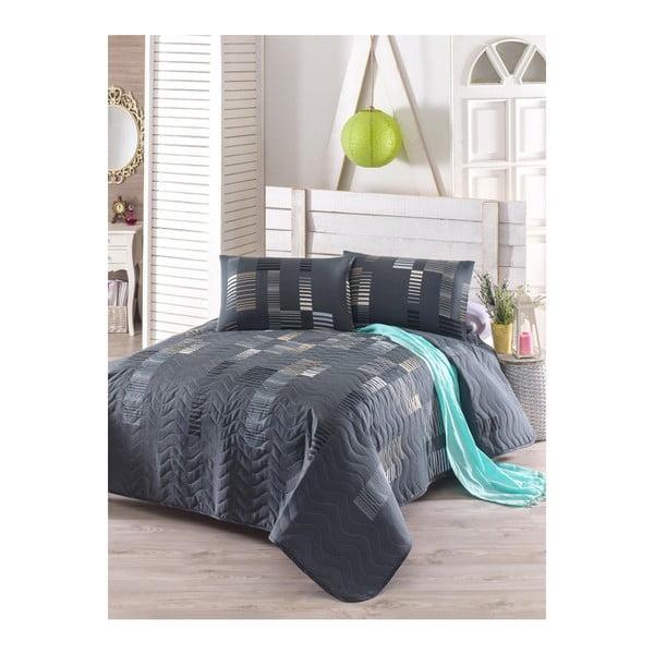 Set cuvertură pat și față de pernă din amestec de bumbac Trace Anthracite, 160 x 220 cm