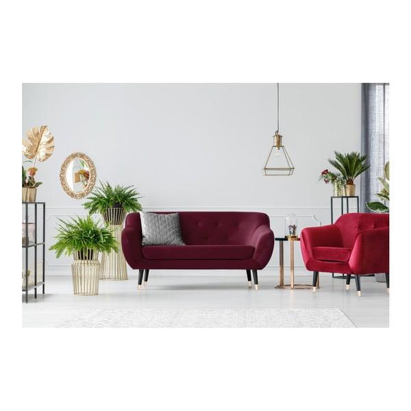 Vínově červená dvoumístná pohovka s černými nohami Mazzini Sofas Amelie