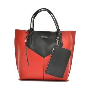 Červenočerná kožená kabelka Anna Luchini Tote