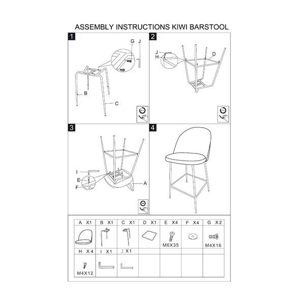 Set 2 scaune de bar Mauro Ferretti Luxury, roz