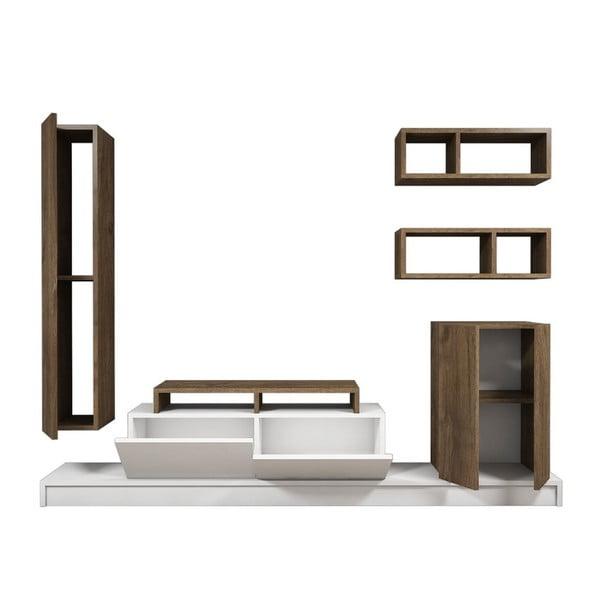 Set dreveného TV stolíka a 3 políc Puzzle