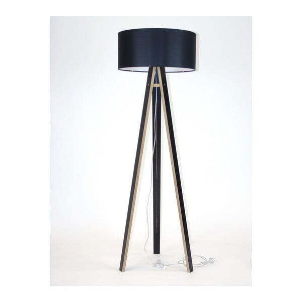 Wanda fekete állólámpa, fekete lámpabúrával és átlátszó kábellel - Ragaba