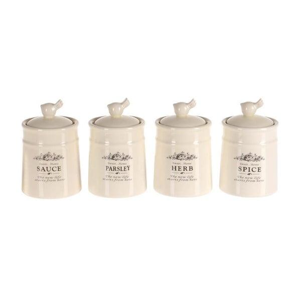 Sada 4 kořenek Spice Jar Porcelain
