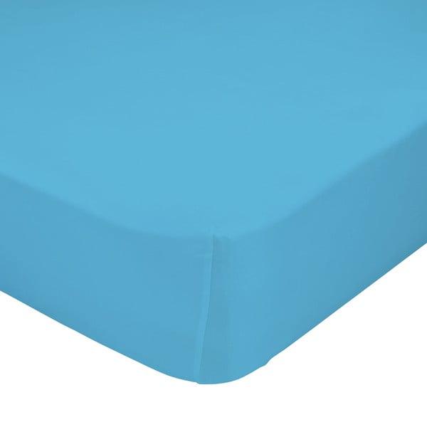 Tyrkysově modré elastické prostěradlo z čisté bavlny Happy Friday Basic, 90 x 200 cm