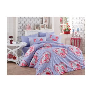 Lenjerie de pat cu cearșaf Lovely, 200 x 220 cm, violet