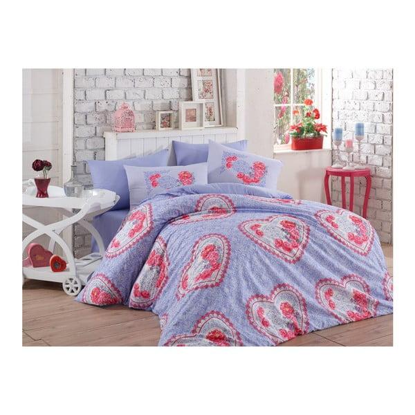 Lenjerie de pat cu cearșaf din bumbac Lovely Lilac, 200 x 220 cm