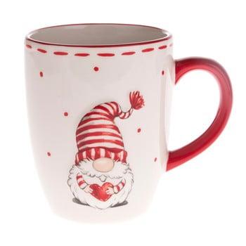 Cană din ceramică Dakls, roșu - alb, pitic