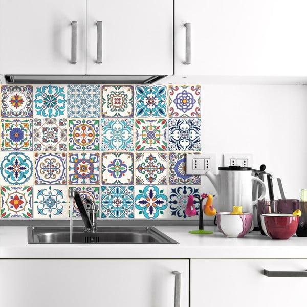 Sada 24 nástěnných samolepek Ambiance Decals Patchwork Tiles, 10 x 10 cm