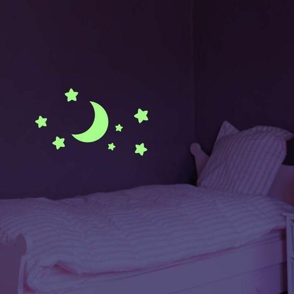 Ve tmě svítící samolepka Ambiance Moon and Stars, 25x25cm