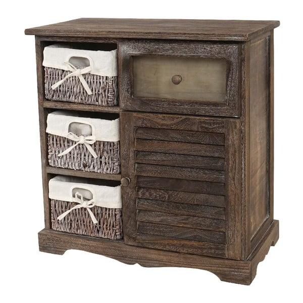 Hnědá dřevěná skříňka Mendler Shabby Wicker