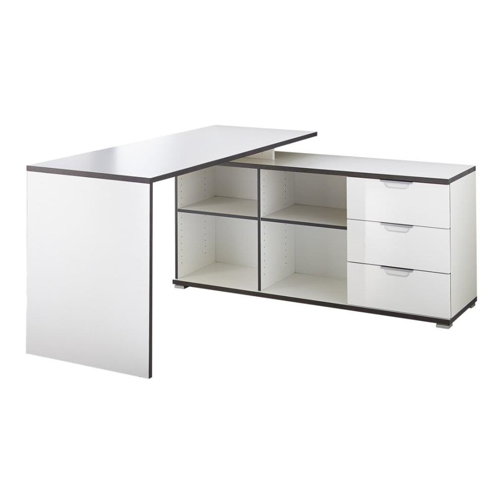 Bílý pracovní stůl s odkládacím stolkem s šuplíky Germania X