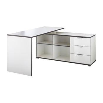 Birou cu masă auxiliară și sertare Germania X, alb de la Germania