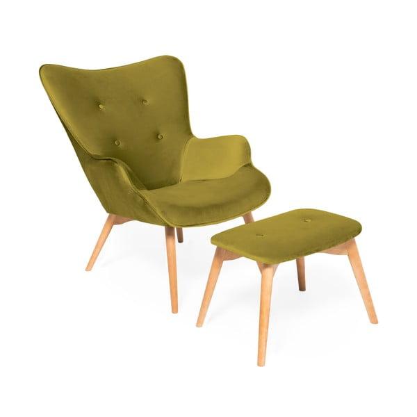 Oliwkowy fotel z podnóżkiem i nogami w naturalnym kolorze Vivonita Cora Velvet