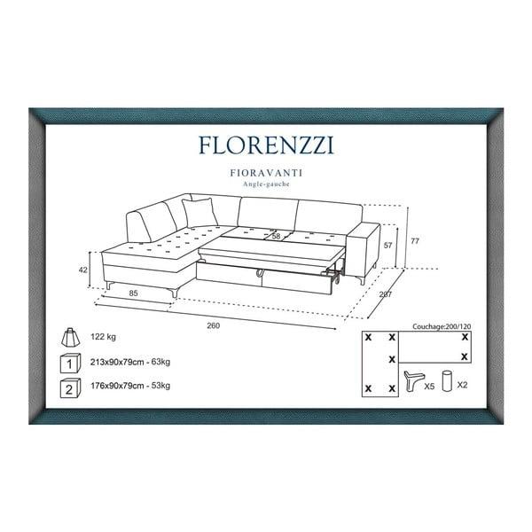 Vínově červená rozkládací pohovka Florenzzi Fioravanti s lenoškou na levé straně
