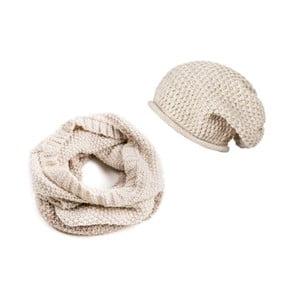 Krémová čepice a šála Lavaii Snow