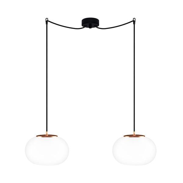 Černé dvojité závěsné svítidlo s detaily v měděné barvě Sotto Luce DOSEI