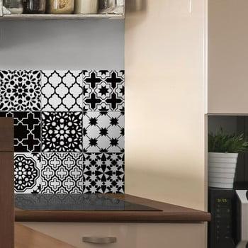 Set 9 autocolante pentru perete Ambiance Classic Azulejos Black and White Shade, 10 x 10 cm de la Ambiance