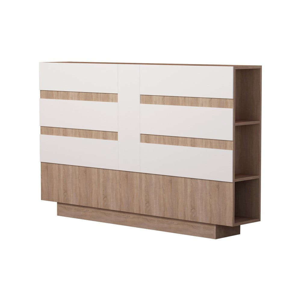 Čelo postele s úložným prostorem s bílým detailem Homitis Eddo