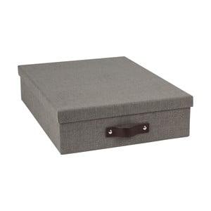 Tmavě šedý úložný box na dokumenty s koženým úchytem Bigso Boxy, velikost A4