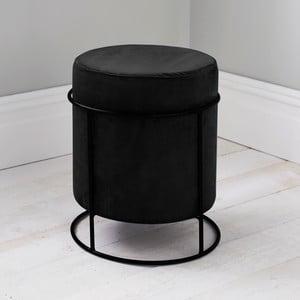 Černý čalouněný puf Native Stack, ⌀ 37 cm