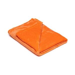 Oranžová mikroplyšová deka My House, 150x200cm