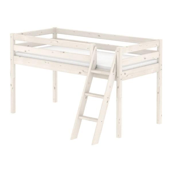 Bílá středně vysoká dětská postel z borovicového dřeva s žebříkem Flexa Classic, 90x200cm