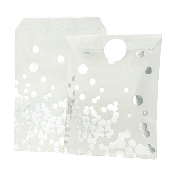 Sada 8 papírových sáčků Talking Tables Glassine Silver Dot