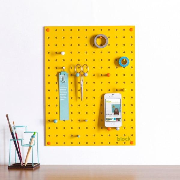 Žlutá multifunkční nástěnka Pegboard Small, 40,5x30cm