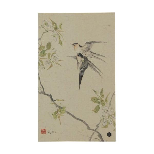 Plakát z ručně vyráběného papíru BePureHome Swallows, 35x25cm