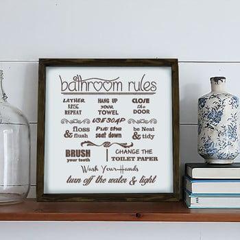 Tablou Bathroom Rules, 34 x 34 cm