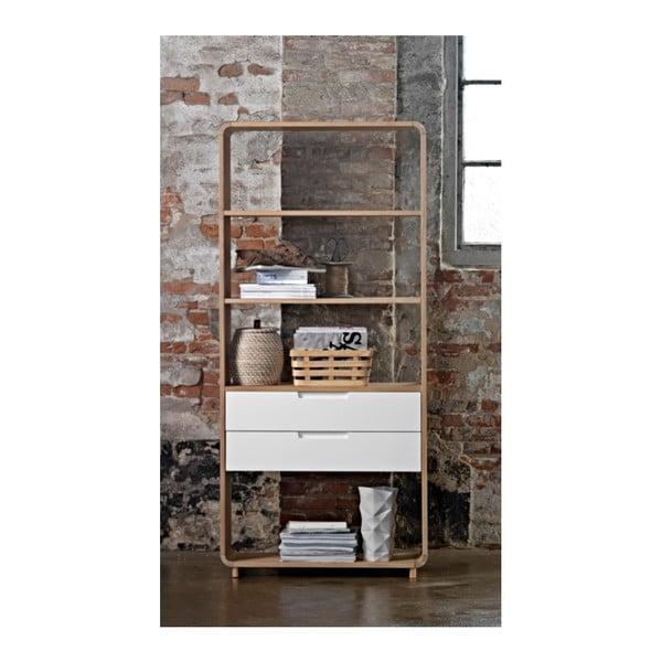 Otevřená knihovna ze dřeva bílého dubu Unique Furniture Amalfi