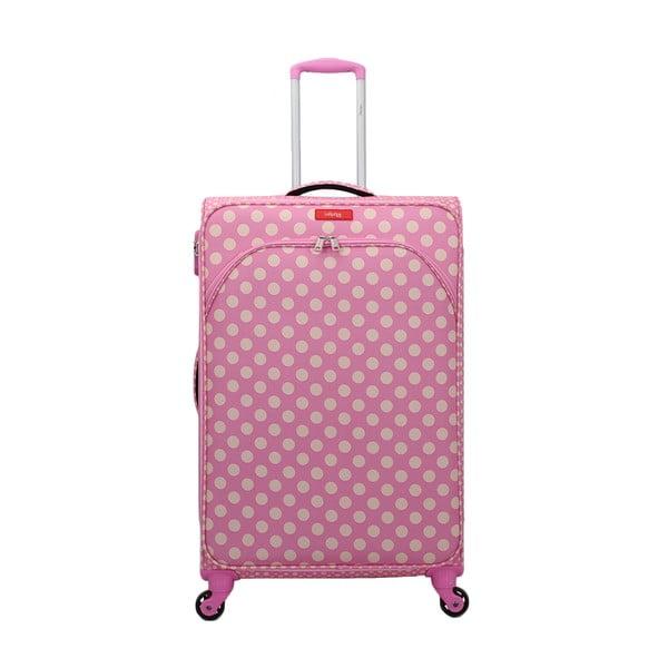 Ružový kufor na 4 kolieskach Lollipops Jenny, výška 77 cm