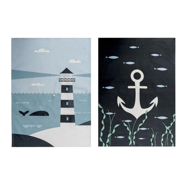 Sada 2 kuchyňských utěrek Ahoy! Lighthouse