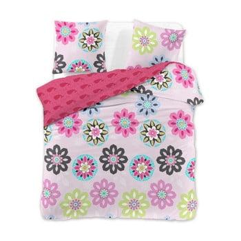 Lenjerie de pat din bumbac pentru pat dublu DecoKing Diamond Pink Meadow, 200 x 200 cm