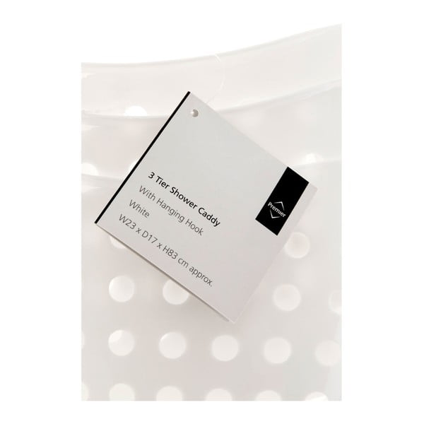Organizator pentru duș Premier Housewares Shower Caddy, 3 compartimente, alb