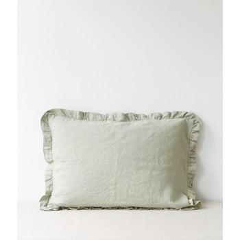Față de pernă din in cu tiv plisat Linen Tales, 50 x 60 cm, verde deschis