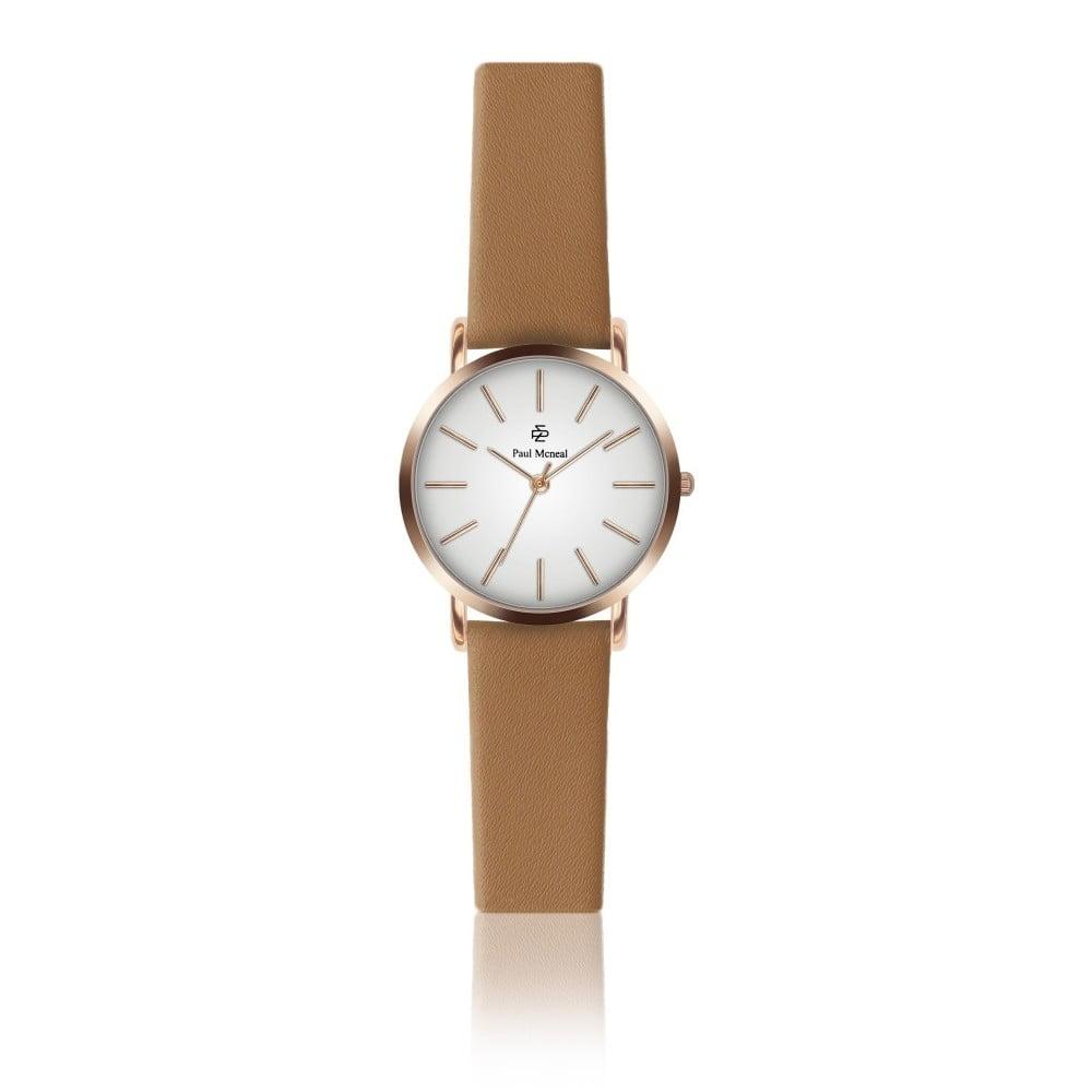 Dámské hodinky s koňakově hnědým koženým řemínkem Paul McNeal Soa, ⌀ 2,8 cm